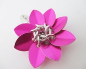 Hot Pink Scale Maille Flower Hair Clip