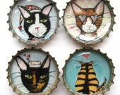 Winter Valentine's Day Cat Magnets - Cat Art - Bottle Cap Magnets - Cats in Clothes - Valentine Gift -  Gift for Cat Lover - Cat Valentine
