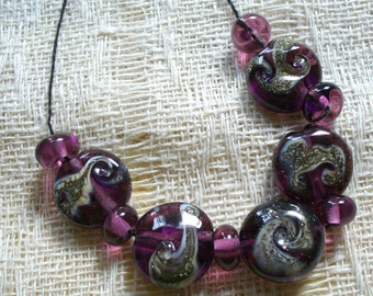 SRA Lampwork Glass Beads by Catalinaglass  Amethyst and SIlvered Ivory