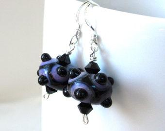 Violet Lampwork Earrings, Black Lampwork Earrings, Halloween Art Glass Earrings, Glass Bead Earrings, Cute Spooky Dangle