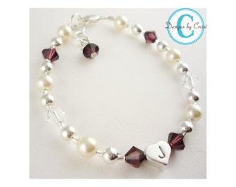 Pearl & Birthstone Initial Girl's Bracelet- Personalized - Flower Girl Bracelet - new baby gift, baptism, Christening