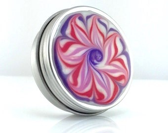 Medium Treasure Box with Purple and Pink Flower - Pink Flower Jewelry Box - Trinket Box - Pill Box - Handmade - #254 - Ready to Ship