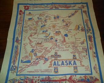 Vintage Souvenir Tablecloth Alaska State Map Cloth Square Table Cloth