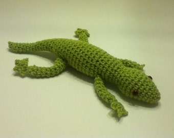Amigurumi Gecko - Soft Green Plush Crochet Stuffed Lizard Toy