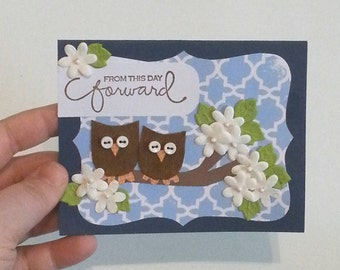 Wedding Card. Owl Greeting Card. Handmade Love Owls. Just Married. Owl Card.  Ready to Ship