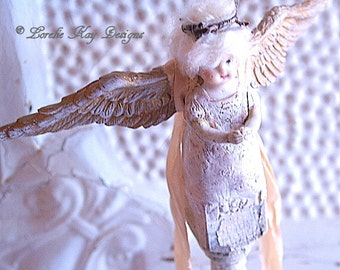 Angel Art Doll Sculpture Folk Art Primitive Angel Sculpture Frozen Shabby Decor Found Object  Angel Art Doll