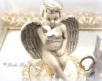 Angel Ring Holder Cherub Silver Shabby Ring Dish Tray Lorelie Kay Original