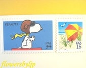 Vintage Postage Stamps Unused, Snoopy Flies to the Beach, Mail 10 Letters Cards or Party Invites, 47 cents postage 1 oz, flying Snoopy stamp