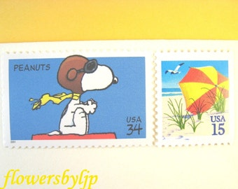 Snoopy Flies to the Beach Postage Stamps, Flying Dog - Seashore Stamps, Mail 10 Letters Cards or Party Invites, 49 cents postage 1 oz unused