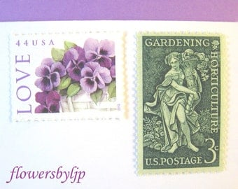 Love Gardening Postage Stamps Unused, Purple Pansy Flowers, Garden Goddess Stamp, Mail 10 Cards or RSVPs 1 oz, 47 cents floral love postage