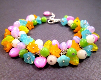 Flower Charm Bracelet, Bright Bouquet, Colorful and Silver Cha Cha Style Bracelet, FREE Shipping U.S.