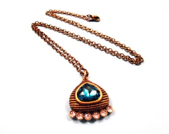 Rhinestone Necklace, Teal Blue and White Glass Stones, Brass Pendant Necklace, FREE Shipping U.S.