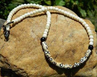 Men's Batik Bone Bead Necklace