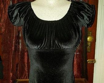 ON SALE Black Velvet Peasant Top Blouse Small Lolita Gothic Steampunk