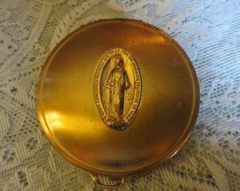Vintage 1930's Velvet Lined Rosary Case Virgin Mary