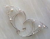HALF OFF! Argentium silver elf ears with pearls