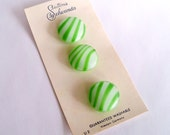 Vintage Green and White Stripe Glass Buttons by Schwanda - Original Card