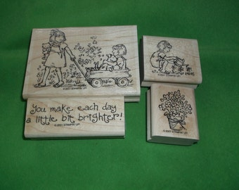 Children Friendships Grow 4 Rubber Stamps set Stampin up