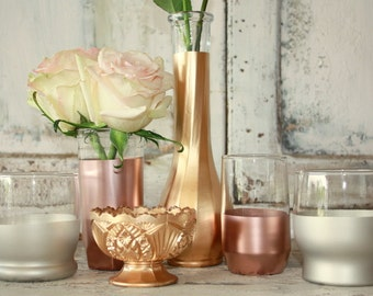 Gold wedding decor, Set of 6 copper, rose gold and matte silver dipped votive candle holders and vases, mixed metal table decorations