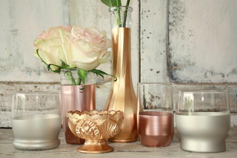 gold wedding decor set of 6 copper rose gold and matte