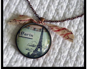 French Script Parisian pendant...gift boxed with chain and READY to SHIP Paris, french, vintage,  Marie Antoinette