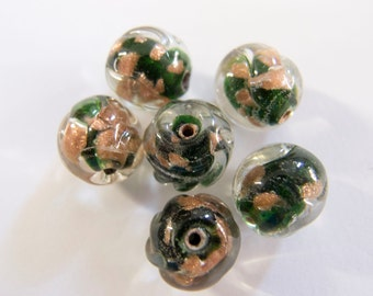Vintage Beads Japan 1950s Emerald Aventurine Cased Baroque Handmade Lampwork Glass Beads - Lot of 6