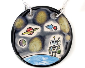 Robot in Space Ceramic Necklace with Chain