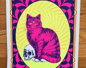 Groovy Cat - Hand-Printed Art Print