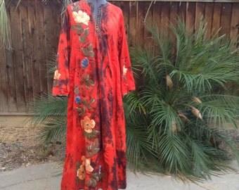 Vintage 60s red tie dye caftan ~ bohemian ~ hippie ~ muumuu