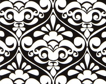 CLEARANCE 2.5 Yards Michael Miller Divine Damask in Black and White