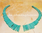 Howlite Turquoise Graduated Slice Spike Beads  / Two 5-1/2 Inch Strands (Irregular beads as pictured)