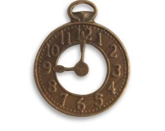 4 Vintaj Natural Brass 25x20mm Clock (DP450)