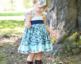 Girls Blue Flower Dress- Girls Dress-  Easter Dress - Summer Dress - Girls Summer Outfit - Flower Girl Dress - Easter Outfit - Spring Dress