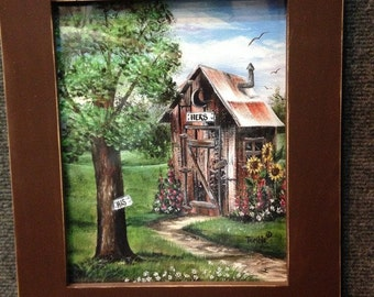 Outhouse painting framed print his hers bathroom wall decor