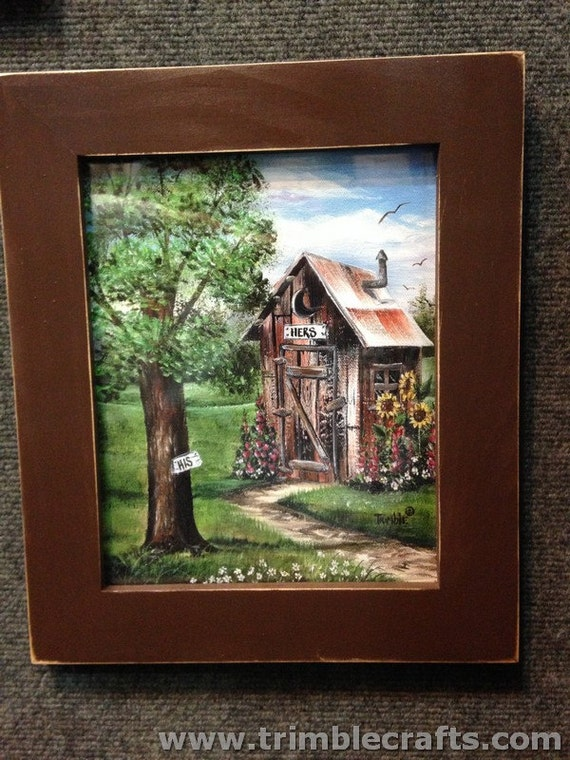 outhouse painting framed print his hers bathroom wall decor. Black Bedroom Furniture Sets. Home Design Ideas