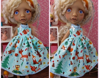 Mystery Elf BJD Babydoll Dress Woodland Friends by Tickled Pink by Julie