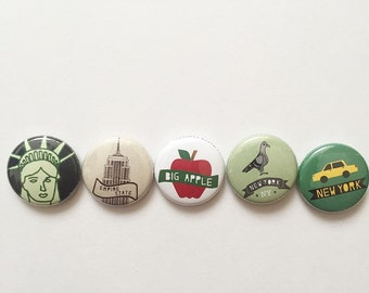 5 New York Themed 1 inch Button Pin Set