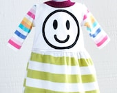 "american COURTNEYCOURTNEY AG girl upcycle 18"" doll stripe smiley face rainbow stripe green white stripes gather"
