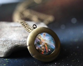 Nebula Galaxy Locket - Blue - Outer Space Carina Nebula Necklace - Silver or Bronze - Nerd Jewelry, Astronomy, Space Wedding, Unique Gift