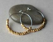 Faceted Gold Hoop Earrings, Gold Vermeil Hoop Earrings, Small Silver Hoop Earrings, Mixed Metal Jewelry, Gold Hoops, Jewelry Gift Women