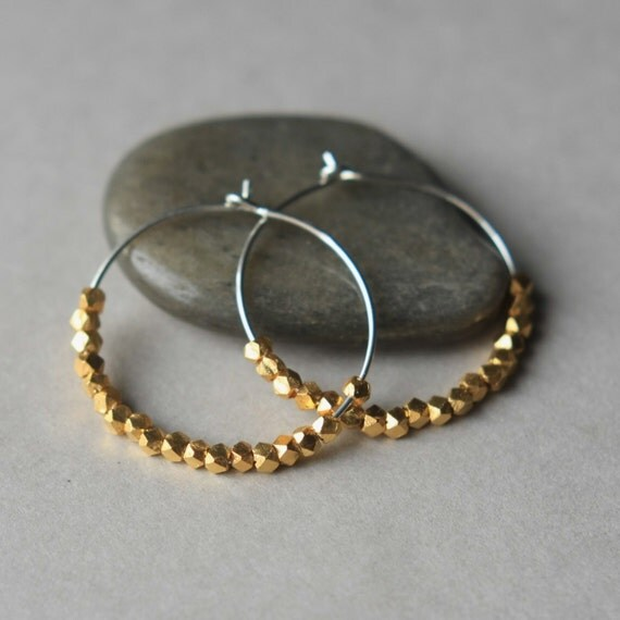 Faceted Gold Hoop Earrings, Gold Vermeil Hoop Earrings, Small Silver Hoop Earrings, Mixed Metal Jewelry, Gold Hoops, Jewelry Gift Women