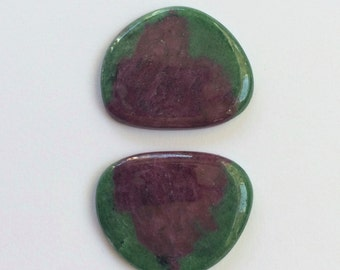 Gemstone Cabochons Ruby Zoisite Free Form Red Green Parcel TWO CABS