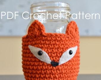 Fox Mason Jar Cozy - Crochet PDF Pattern