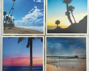Photo Coasters - Beaches - Daylight and Sunset - Set of 4