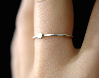 Small Silver Pebble ring, sterling silver stacking ring, dot ring, silver bead ring, thin silver ring, stacking ring, pebble ring