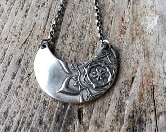 Crescent Mehndi necklace.  Recycled eco friendly sterling silver.  Handmade artisan jewellery.