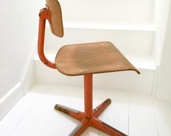 60s Dutch Modernist Mid Century Plywood Children's Chair  -  steel and bent ply