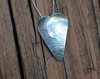 Small Heart 2 Pendant, Sterling Silver, Textured Heart Pendant