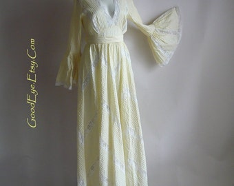 ROMANTIC Pintuck Mexican Wedding Dress Maxi TACHI CASTILLO  size 4 6 8 small  Pastel Yellow Cotton Lace Inserts 1970s
