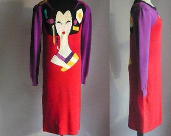 Iconic Bob MACKIE Sweater Dress  Designer NINGYO Girl size Medium Stretch Cotton Knit 1990s Mod Red Purple